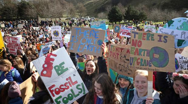 Pupils take part in a global school strike for climate change outside the Scottish Parliament building in Edinburgh in March (Jane Barlow/PA)