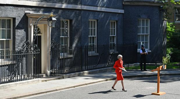 Prime Minister Theresa May making a statement outside at 10 Downing Street in London.