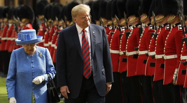 US President Donald Trump will again be greeted by the Queen on arrival to Britain in June (PA)