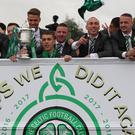 Celtic players on the bus after winning the William Hill Scottish Cup (Andrew Milligan/PA)
