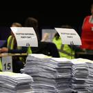 European election ballot papers being counted in Edinburgh (Andrew Milligan/PA)