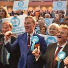 The Brexit Party's three winning candidates in the West Midlands region – Rupert Lowe, Martin Daubney and Andrew Kerr (Matthew Cooper/PA)