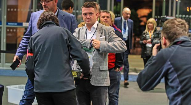 Tommy Robinson the independent candidate arrives ahead of the result in the European Parliamentary elections count in Manchester (Peter Byrne/PA)