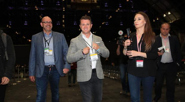 Tommy Robinson arrives at the European Parliamentary elections count at the Central Convention Complex in Manchester (Peter Byrne/PA)