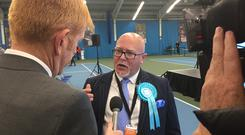 Newly elected MEP Brian Montieth talks about the Brexit Party's success at the European Parliamentary elections count for the North East in Sunderland.