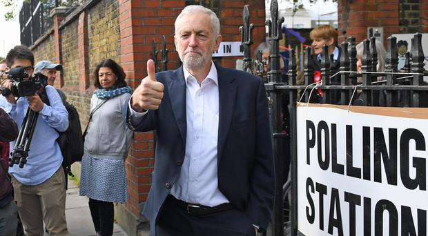 Labour leader Jeremy Corbyn leaves after voting at a polling station in Islington, north London (Stefan Rousseau/PA)