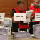 Ballot papers being counted during the European Parliamentary elections count at the International Conference Centre in Edinburgh (Andrew Milligan/PA)