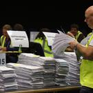 Ballot papers after being counted during the European Parliamentary elections count in Edinburgh (Andrew Milligan/PA)