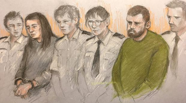 Court sketch of Sarah Barrass, 34, and Brandon Machin, 37, at Sheffield Crown Court (Elizabeth Cook/PA)