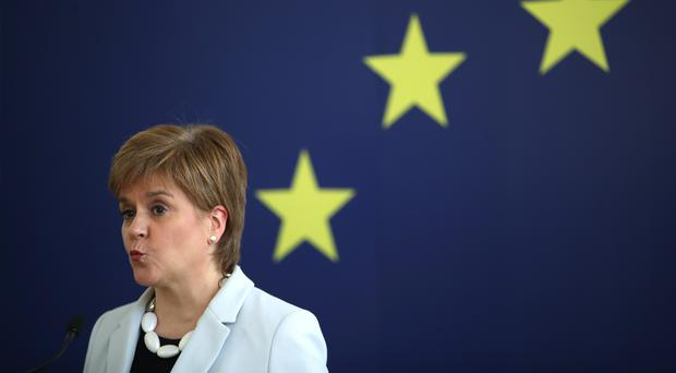 Nicola Sturgeon said it would be an 'outrage' if Westminster was to block a second independence referendum (Jane Barlow/PA)