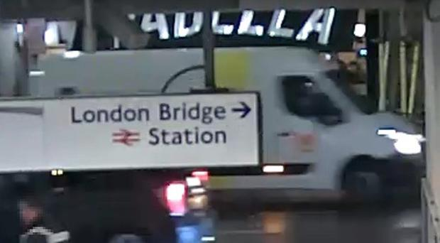 CCTV screengrab of the van driven by the terrorist heading north past the London Bridge underground station (Met Police/PA)