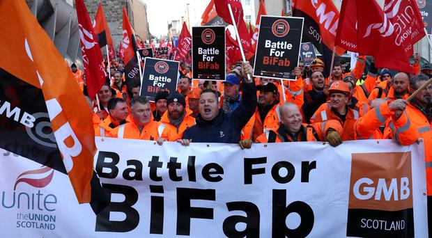 Workers from crisis-hit fabrication firm BiFab on a protest march (Andrew Milligan/PA)