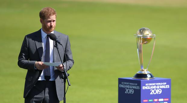 The Duke of Sussex opens the ICC Cricket World Cup at The Oval in London (Nigel French/PA)