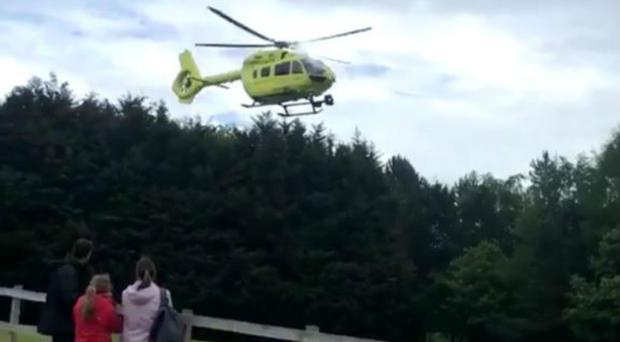 The Yorkshire Air Ambulance arriving (Emma Rowland/Twitter/PA)