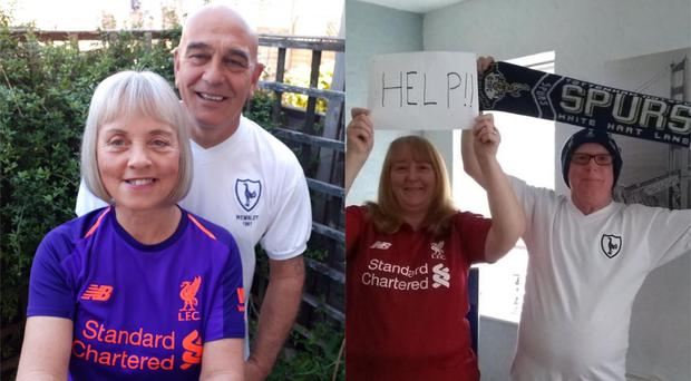 Two couples, with one Liverpool fan and one Tottenham fan in each, ahead of the 2019 Champions League final (Tracey Moore/Derek and Wendy Nash/PA)