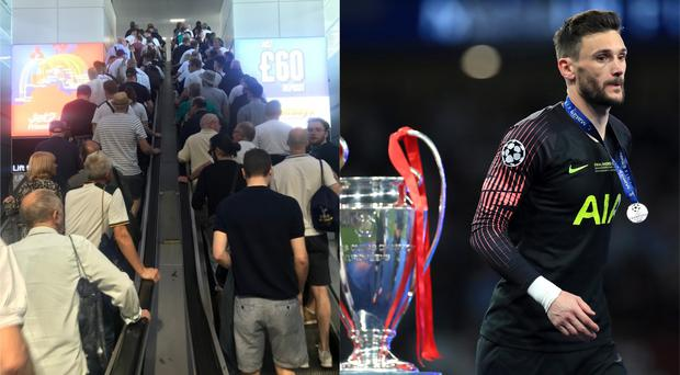 Tottenham fans travel on Champions League final day while Hugo Lloris walks past the trophy after Tottenham lost 2-0 to Liverpool in the final (Rob White and EMPICS Sport)