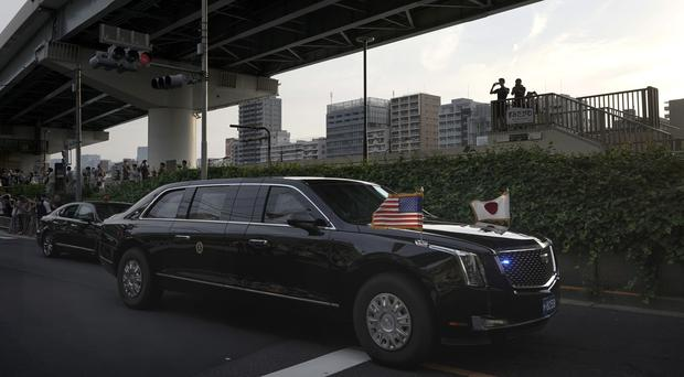 The presidential limo known as The Beast carrying Donald Trump during the president's visit to Japan (AP Photo/Jae C Hong)