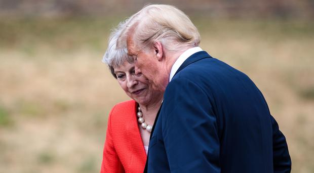 Donald Trump with Theresa May on a previous visit to the UK (PA)
