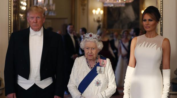 US President Donald Trump, the Queen, and First Lady Melania Trump (Jeff Gilbert/Daily Telegraph/PA)