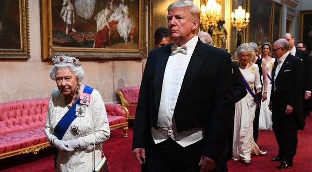The Queen and US President Donald Trump ahead of the banquet (Victoria Jones/PA)