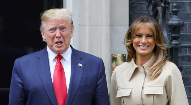 US President Donald Trump and Melania Trump in Downing Street (Aaron Chown/PA)