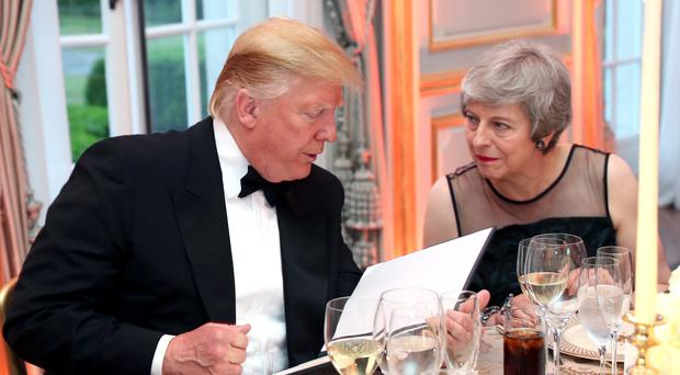 US President Donald Trump with Prime Minister Theresa May (Chris Jackson/PA)