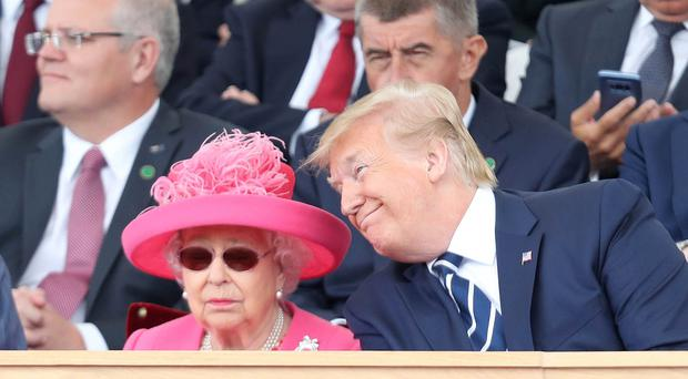 The Queen and US President Donald Trump during commemorations for the 75th Anniversary of the D-Day in Portsmouth on Wednesday (Chris Jackson/PA)