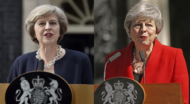 Prime Minister Theresa May making her first speech as PM in 2016, and during her resignation speech last month (Hannah McKay/Yui Mok/PA)