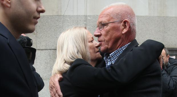 Sally Challen is hugged by her brother Chris Jenney