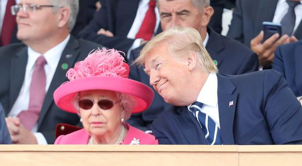 The Queen and Donald Trump during commemorations for the 75th anniversary of the D-Day landings (Chris Jackson/PA)