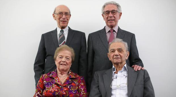Clockwise from top left, Holocaust survivors George Hans Vulkan, Ernest Simon, Walter Kammerling and Ruzena Levy, at the Jewish Museum London (Yui Mok/PA)