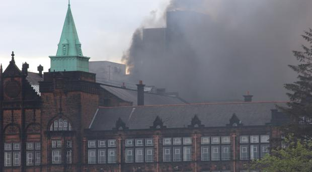 The fire engulfed the derelict university building in Glasgow (Victoria Mitchell/PA)