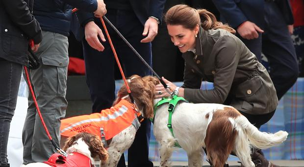 The Duchess of Cambridge meets working dogs (Peter Byrne/PA)
