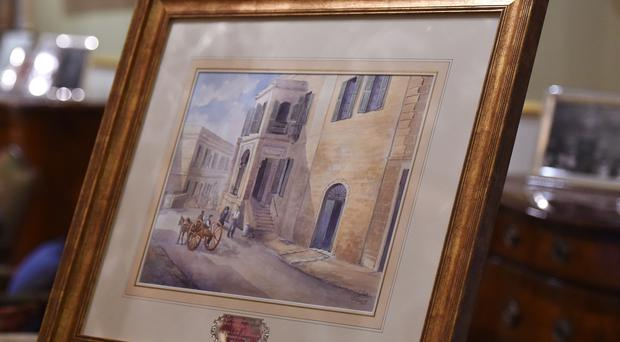 A painting of Villa Guardamangia presented to the Queen and the Duke of Edinburgh (PA)