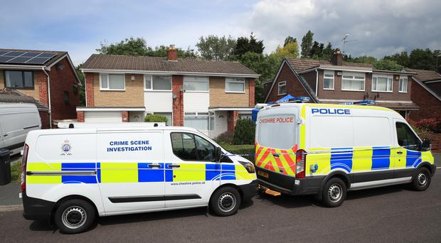Police at the home of Lucy Letby in Chester, after the nurse was re-arrested on suspicion of the murders of eight babies at a hospital neo-natal unit (Peter Byrne/PA)
