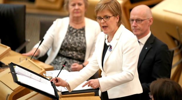 Nicola Sturgeon has challenged Labour to support a second independence referendum (Jane Barlow/PA)