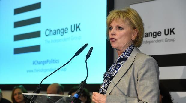 Anna Soubry speaks during a Change UK rally (PA/ Kirsty O'Connor)