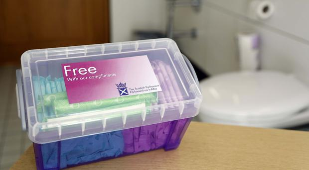 A box of sanitary products at the Scottish Parliament in Edinburgh (Andrew Cowan/PA)