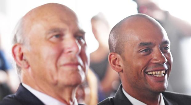 Former Change UK and Labour MP Chuka Umunna, right, with Liberal Democrat leader Sir Vince Cable (Stefan Rousseau/PA)