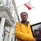 Richard Ratcliffe outside the Iranian Embassy in London where he is on hunger strike in solidarity with his wife (Jonathan Brady/PA)