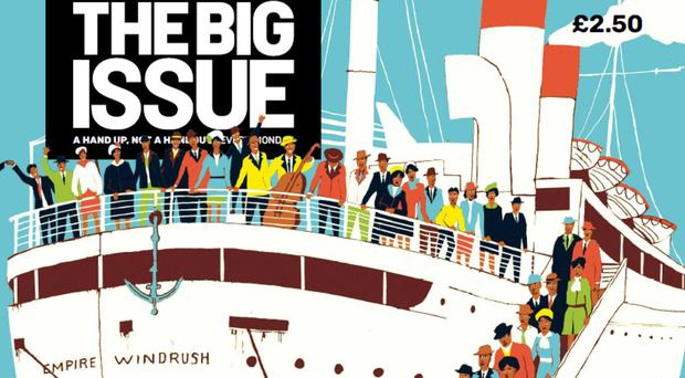 Front cover of The Big Issue magazine marking Windrush Day (Big Issue/PA)