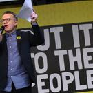 Deputy Leader of the Labour Party Tom Watson addresses anti-Brexit campaigners in Parliament Square as they take part in the People's Vote March in London.