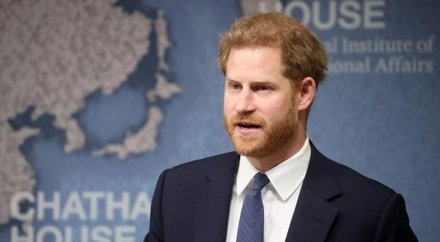 The Duke of Sussex makes a speech during a Chatham House Africa Programme event on mine clearing in Angola (AP)