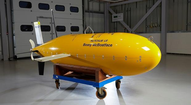 Embargoed to 0600 Monday March 13 Undated handout photo issued by the University of Southampton of the Autosub Long Range submersible named ÒBoaty McBoatfaceÓ which is to join scientists from the British Antarctic Survey (BAS) to study some of the deepest and coldest ocean waters on Earth.