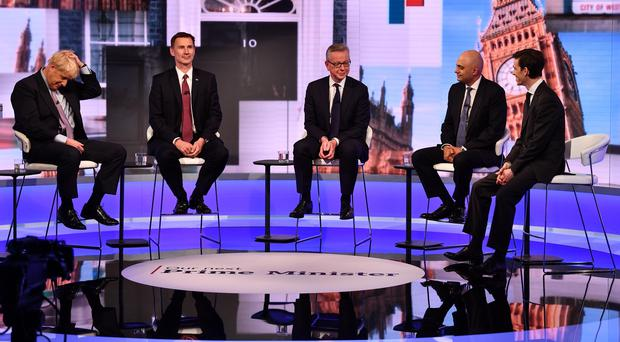 (left to right) Boris Johnson, Jeremy Hunt, Michael Gove, Sajid Javid and Rory Stewart during the BBC TV debate (Jeff Overs/BBC/PA)