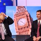 Boris Johnson (left ) and Jeremy Hunt during the BBC TV debate (Jeff Overs/BBC)