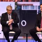 Boris Johnson (left) and Jeremy Hunt during the BBC TV debate featuring the contestants for the leadership of the Conservative Party (Jeff Overs/BBC)