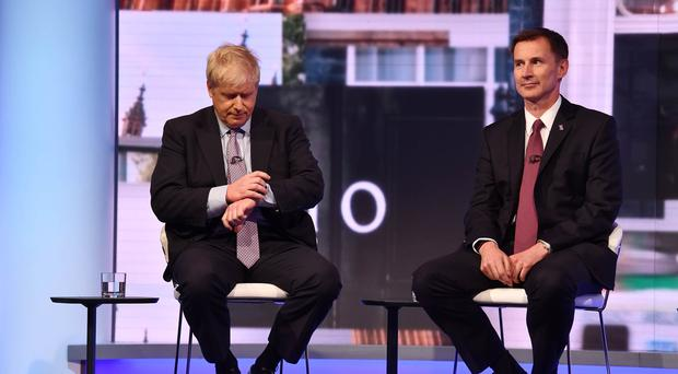Boris Johnson and Jeremy Hunt (Jeff Overs/BBC)