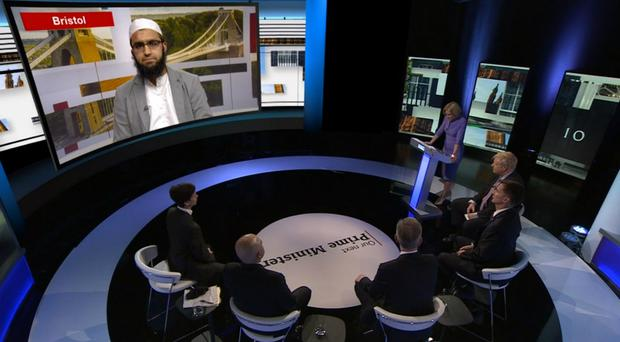 Screengrab of Abdullah Patel questioning the Tory leadership candidates on the BBC's live debate (BBC/PA)