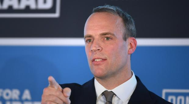 Former Brexit secretary Dominic Raab is backing Boris Johnson in the Tory leadership race (Stefan Rousseau/PA)